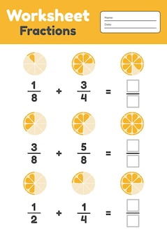 Frazioni del foglio per bambini. aggiunta. matematica per bambini in età prescolare e in età scolare. arancia. illustrazione.