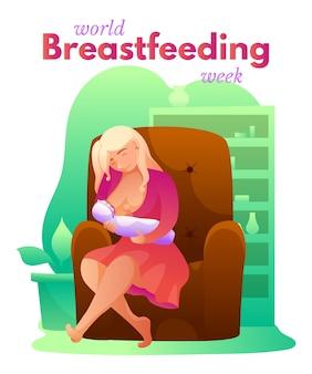 Modello di poster settimana di allattamento al seno di parola