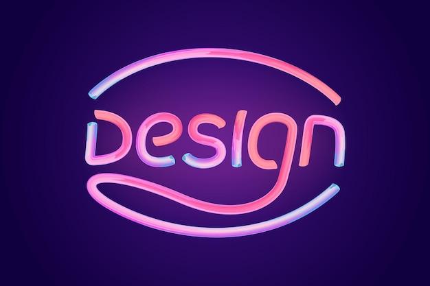 Word design carattere tipografico rosa lucido tipografia illustrazione vettoriale d carattere a bolle con glint