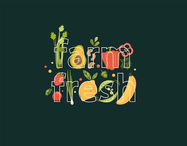 Fattoria di parole fresca piena di verdure, bacche, frutta sullo sfondo. prodotti naturali e biologici: fragole e ciliegie, avocado, sedano, fagioli, pepe, limone e piselli, banana. vettore per web, design, stampa.