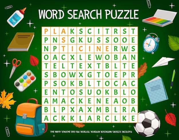 Griglia del gioco puzzle di parole con elementi di istruzione scolastica