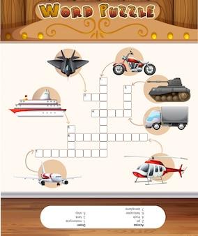 Modello di gioco puzzle di parole con trasporti