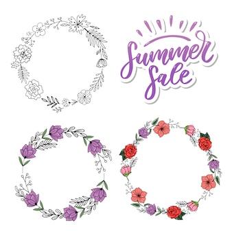 Parola vendita. lettere fatte di fiori e foglie saldi estivi vacanze volantino banner poster saldi estivi