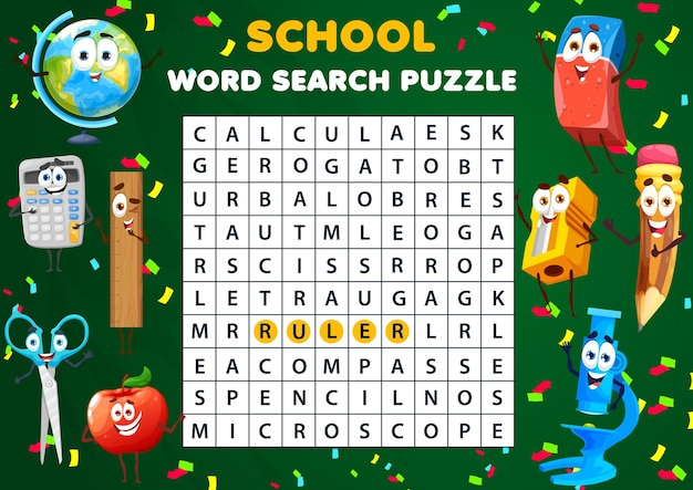 Foglio di lavoro puzzle di ricerca di parole. gioco a quiz per bambini con personaggi della scuola. parole incrociate di vettore di istruzione con globo divertente del fumetto, mela, temperino e forbici o gomma con microscopio, i bambini trovano le parole compito