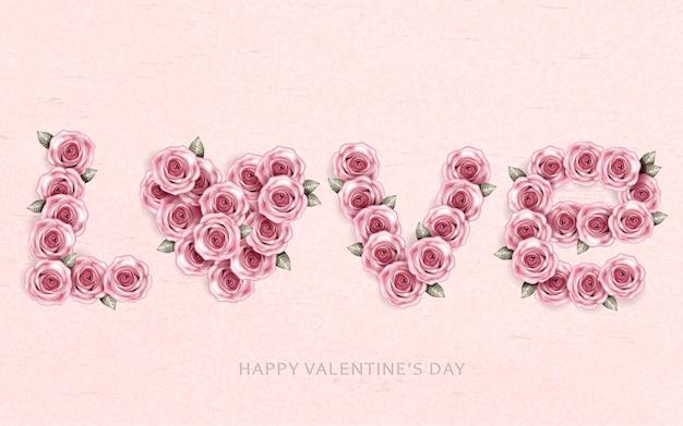 Parole amore fatte da fiori di rosa