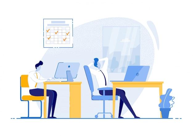 Lavorare secondo il calendario,. abiti da uomo sedersi in ufficio sul posto di lavoro, rilassarsi e lavorare al tavolo. apprendimento e comprensione delle abitudini attuali di gestione del tempo. illustrazione.