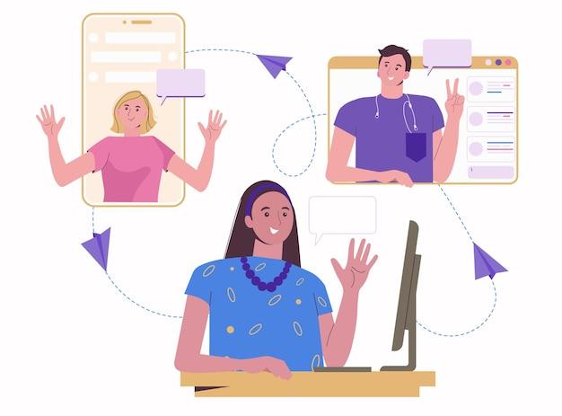 Lavora e chatta online. i colleghi e gli amici lavorano a distanza da casa. video conferenza.