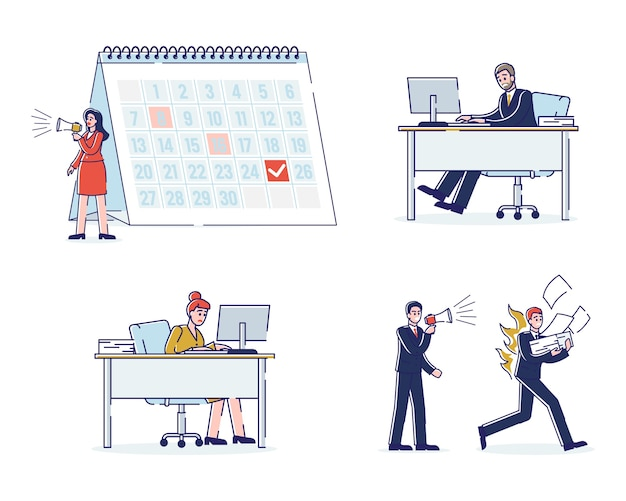 Concetto di scadenze di lavoro. processo di lavoro in ufficio con personale che lavora velocemente.