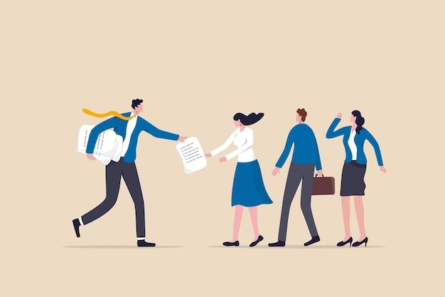 Delega del lavoro, manager distribuisce l'assegnazione del lavoro ai colleghi dei membri del team, assegna compiti, lavoro o progetto al concetto di responsabilità del personale, il manager dell'uomo d'affari delega l'assegnazione del progetto al team.