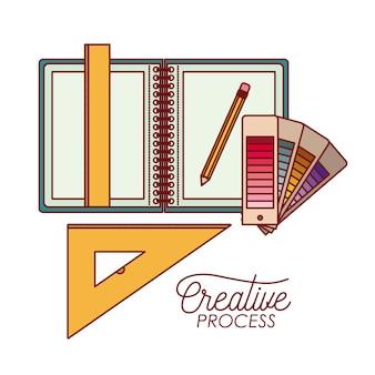 Elementi di lavoro progettazione grafica processo creativo
