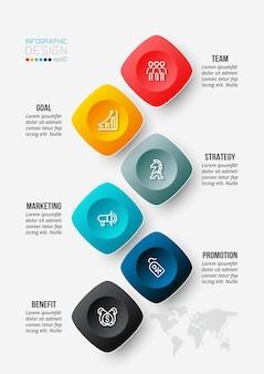 Modello di infografica aziendale del flusso di lavoro