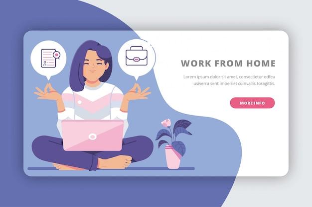 Lavorare dalla pagina di destinazione creativa del concetto di casa