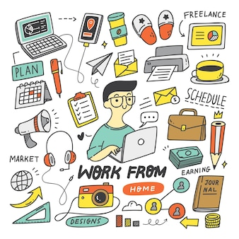 Work from home concept doodle vector design element