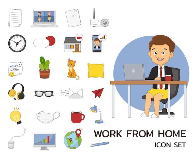 Lavorare dall'icona piana di concetto di casa.