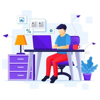 Concetto di lavoro da casa, un uomo lavora sul laptop, resta a casa in quarantena durante l'illustrazione dell'epidemia di coronavirus