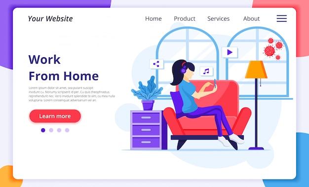 Lavoro da casa concetto, una donna seduta su un divano, auto-uarantina durante l'epidemia di coronavirus. modello di progettazione della pagina di destinazione del sito web