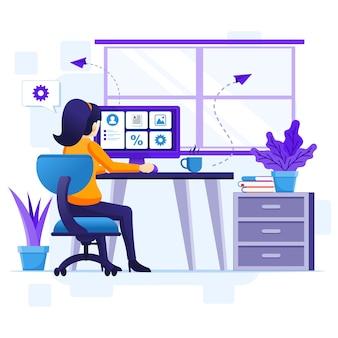 Concetto di lavoro da casa, una donna lavora al computer, resta a casa in quarantena durante l'illustrazione dell'epidemia di coronavirus