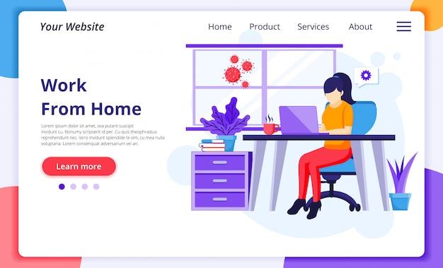 Lavoro da casa concept, a woman work on laptop, self quarantine durante the coronavirus epidemic. modello di progettazione della pagina di destinazione del sito web