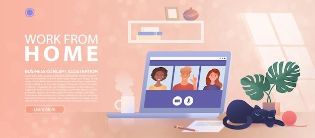 Lavorare da casa pagina di destinazione dell'applicazione di videoconferenza tramite computer portatile