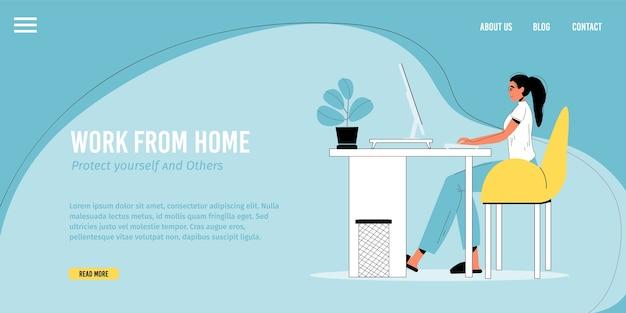Lavoro da casa, occupazione a distanza. giovane donna che lavora in linea sul computer per fare soldi seduto alla scrivania in camera. resta a casa, proteggiti promozione delle persone. modello di pagina di destinazione