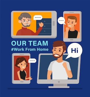Lavoro da casa. lavorare a distanza con una riunione del team di lavoro tenuta tramite una videoconferenza. illustrazione online di concetto di riunione di stile piano di progettazione.
