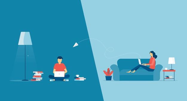 Lavorare dal concetto di casa sul posto di lavoro e il lavoro intelligente di affari online collega ovunque il concetto