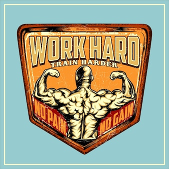 Work hard train harder cartelli in latta retro