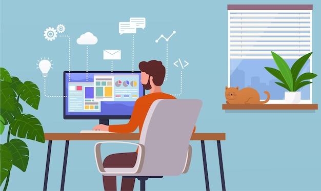 Lavoro a casa. uomo libero professionista che lavora al computer in remoto, carriera su internet. concetto di ufficio a casa.