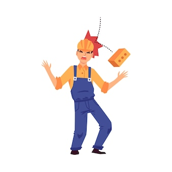 Infortunio sul lavoro - uomo costruttore di cartone animato con casco colpito sulla testa da mattoni che cadono urlando dal dolore. pericolo di cantiere - illustrazione.