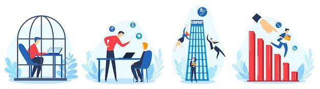 Licenziamento del lavoro, persone espulse dal lavoro insieme isolato illustrazione piatta. idea di disoccupazione.