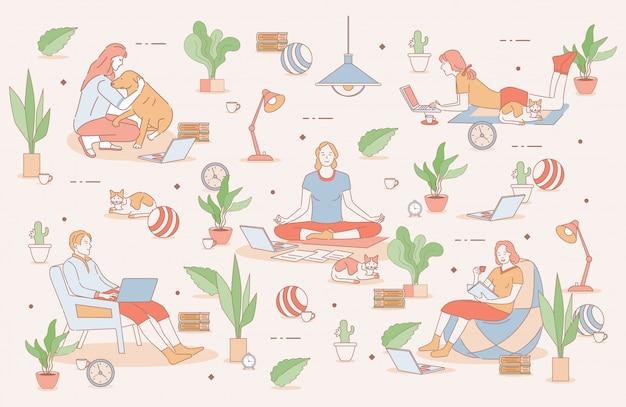 Illustrazione del profilo del fumetto di equilibrio tra lavoro e vita privata. persone che lavorano a distanza e trascorrono del tempo a casa.