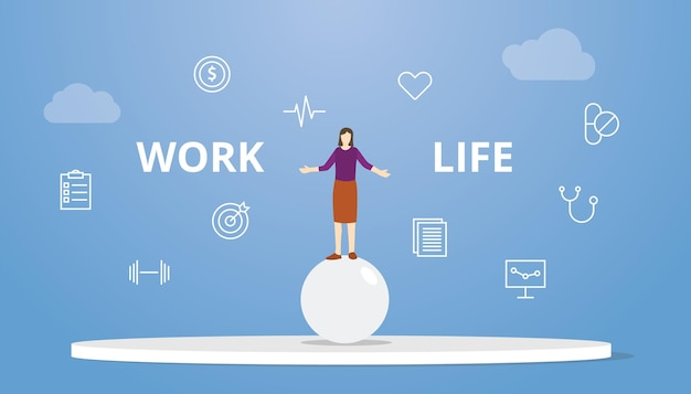 Circo della donna di concetto dell'equilibrio di vita lavorativa sopra le palle della sfera con l'illustrazione piana moderna di vettore di stile