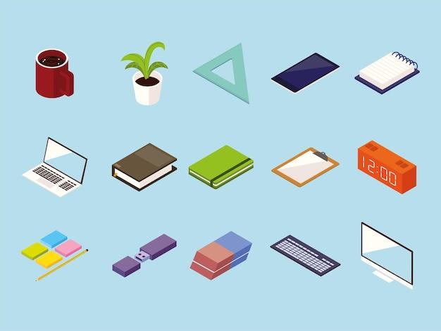 Icone di accessori per forniture per ufficio di lavoro