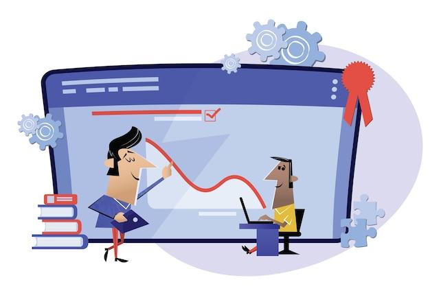 Lavora online, corsi su internet, istruzione online. webinar, metafora dell'insegnamento online in aula digitale