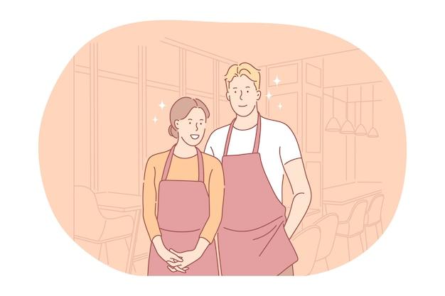 Lavoro o lavoro part-time per i giovani, concetto di occupazione. giovani camerieri sorridenti della donna e dell'uomo
