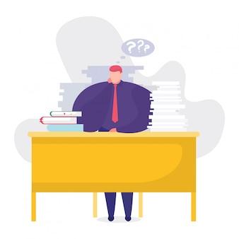 Illustrazione di concetto di problemi del lavoro, uomo d'affari del fumetto che si siede alla tavola, pensante sopra il compito di lavoro sul bianco