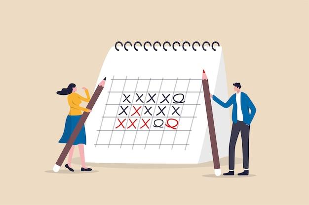 Cronologia della gestione del progetto del calendario del programma di lavoro o pianificazione aziendale e concetto di promemoria