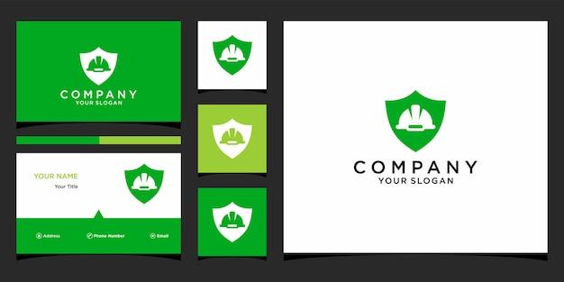 Design del logo dello scudo da lavoro con modello di biglietto da visita