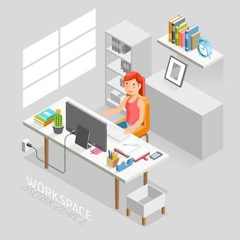 Stile piatto isometrico di spazio di lavoro. uomini d'affari che lavorano su una scrivania in ufficio.