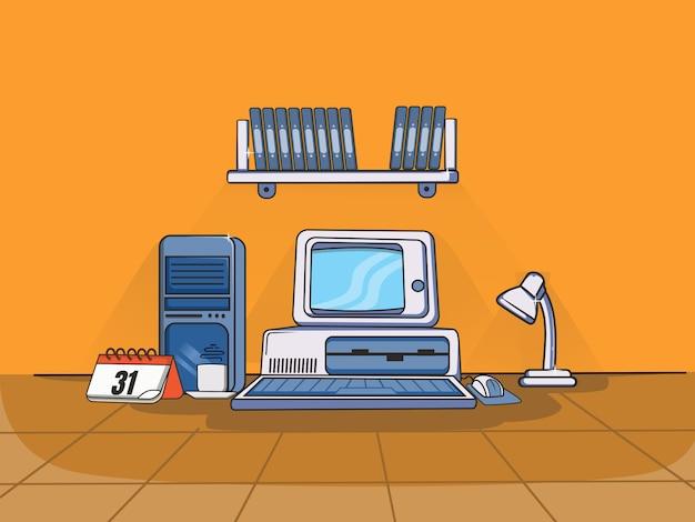 Spazio di lavoro con un computer