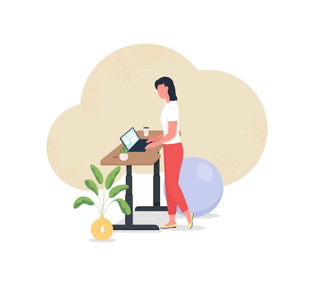 Lavorare alla scrivania in piedi illustrazione 2d