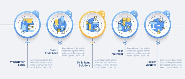 Illustrazione del modello infographic di progettazione della stazione di lavoro