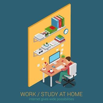 Lavorare e studiare a casa sul posto di lavoro web piatto 3d