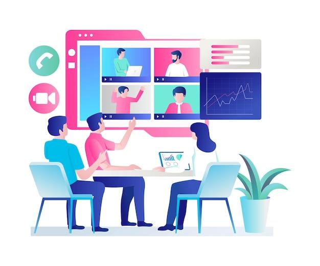 Il team di lavoro sta discutendo online in design piatto