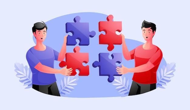 Gruppo di lavoro che unisce pezzi di puzzle, collaborazione, concetto di partnership