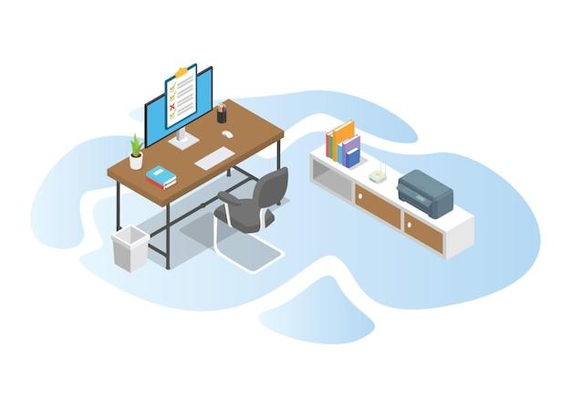Tempo di lavoro con il concetto di tavolo scrivania da lavoro con moderna illustrazione di stile isometrico o 3d