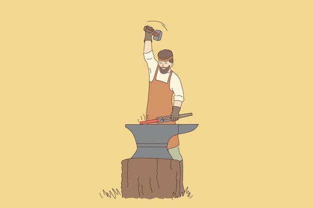 Lavoro e strumenti del concetto di fabbro. personaggio dei cartoni animati del fabbro del giovane con la barba in grembiule che sta lavorando con l'illustrazione calda di vettore del ferro