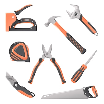 Strumenti di lavoro, strumenti di costruzione per riparazione, lavorazione del legno e ristrutturazione, set vettoriale.
