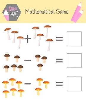 Manuale di matematica per l'istruzione prescolare. puzzle per bambini. impara a contare. risolvi esempi