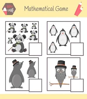 Quaderno di lavoro sulla matematica per l'educazione prescolare. puzzle per bambini.